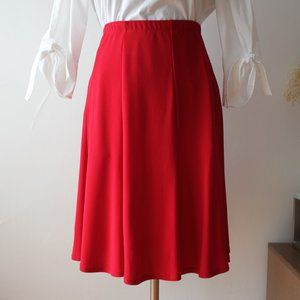 Bright Red Mid-Length Flowy Skirt